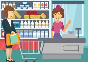 Kvinna shopping med kundvagnen