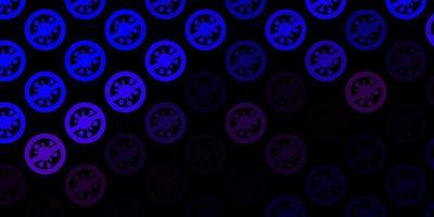 mörkblå vektorbakgrund med covid-19 symboler.