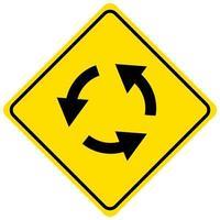 Kreisverkehr Zeichen lokalisiert auf weißem Hintergrund vektor
