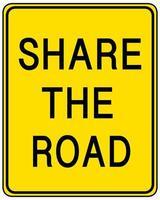 Teilen Sie das gelbe Straßenschild auf weißem Hintergrund
