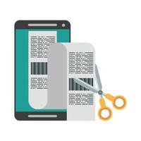 smartphone och sax som skär ett kvitto vektor