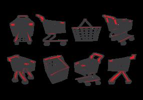 Supermarket kundvagn ikoner vektor