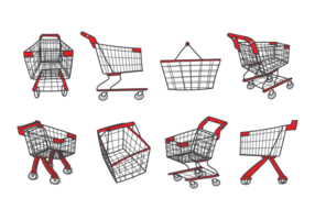 Supermarkt Cart Save Icons Vektor