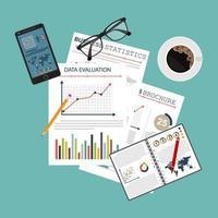 Hintergrund des Prüfungskonzepts mit Büroobjekten vektor