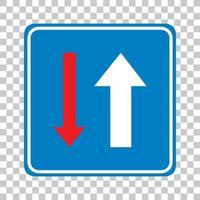 Vorrang vor entgegenkommenden Fahrzeugen Zeichen auf transparentem Hintergrund isoliert