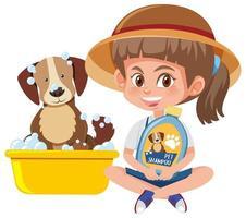 Mädchen, das Hundeshampooprodukt mit niedlichem Hund auf weißem Hintergrund hält