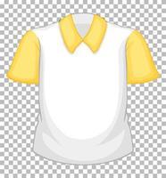 leeres weißes Hemd mit gelben kurzen Ärmeln auf transparentem