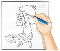 Handschrift des weinenden Umrisses des Mädchens vektor