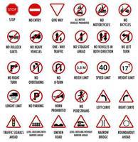 Satz von obligatorischen Verkehrszeichen lokalisiert auf weißem Hintergrund vektor