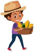 barnpojke med frukt eller grönsaker på vit bakgrund