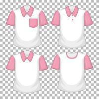 Satz von verschiedenen Hemden mit rosa Ärmeln lokalisiert auf transparentem Hintergrund