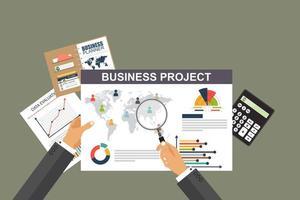 granskningskonceptbakgrund med kontorsobjekt