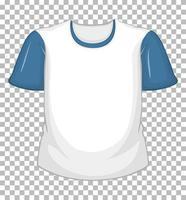 tom vit t-shirt med blå korta ärmar isolerad på transparent bakgrund
