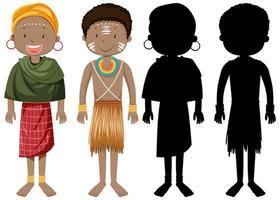 Satz von Menschen afrikanischer Stämme Charakter mit seiner Silhouette vektor