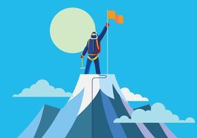Alpinist auf dem Gipfel vektor