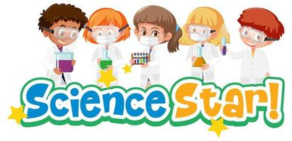 vetenskapstjärna med ungen som innehar experimentellt vetenskapligt objekt isolerad på vit bakgrund vektor