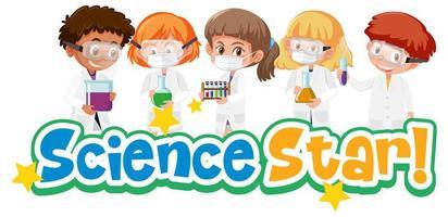 Wissenschaftsstern mit Kind, das experimentelles Wissenschaftsobjekt lokalisiert auf weißem Hintergrund hält vektor