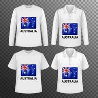 Satz von verschiedenen männlichen Hemden mit Australien-Flaggenbildschirm auf Hemden isoliert vektor