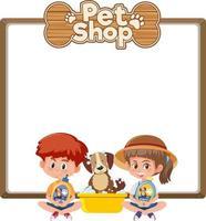 tomma banners med ungen och söt hund och djuraffär logotyp isolerad på vit bakgrund