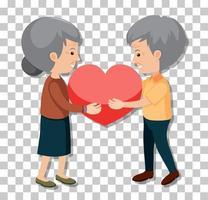 altes Paar in stehender Haltung lokalisiert auf transparentem Hintergrund