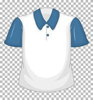 tom vit skjorta med blå korta ärmar isolerad på transparent bakgrund