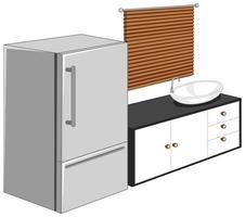 Kühlschrank mit Küchenmöbeln lokalisiert auf weißem Hintergrund vektor