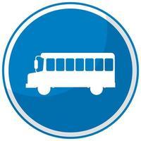 blå buss stoppskylt med stativ isolerad på vit bakgrund