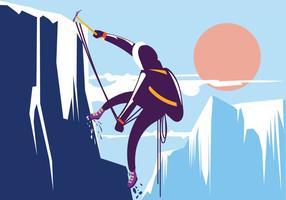 Man Vandring i vackert vinterberg. Alpinist med koncept