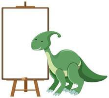 grön söt dinosaurie med tomt banner isolerad på vit bakgrund