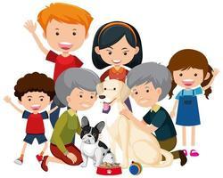 familjemedlemmar med deras hund för hund på vit bakgrund