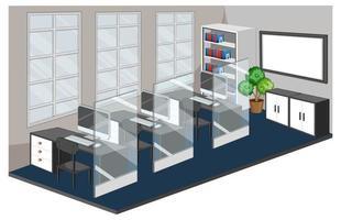 leerer Arbeitsplatz oder Büroraum lokalisiert auf weißem Hintergrund