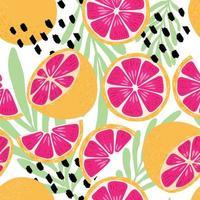 frukt seamless mönster, grapefrukt med tropiska blad vektor
