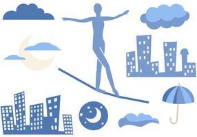 Free Tightrope in der Stadt Vektoren
