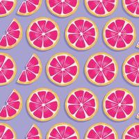 Frucht nahtloses Muster, Grapefruitscheiben mit Schatten vektor