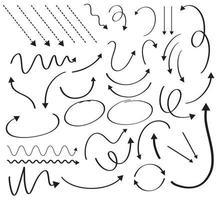 großer Satz Pfeildesign mit verschiedenen Kurven vektor