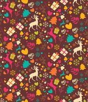 nahtloses Muster mit Weihnachtsbäumen, Rentieren, Geschenkboxen