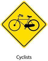 gelbes Verkehrswarnschild auf weißem Hintergrund