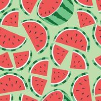 frukt seamless mönster, vattenmelon på ljusgrön bakgrund. vektor
