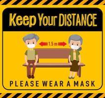 Halten Sie Abstand oder soziales Distanzierungszeichen mit Zeichentrickfiguren für Kinder vektor