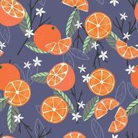 Frucht nahtloses Muster, Orangen mit Zweigen und Blättern vektor