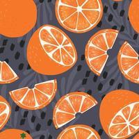 Frucht nahtloses Muster, orange Hälften und Scheiben vektor