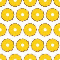 Frucht nahtloses Muster, Ananasscheiben auf weißem Hintergrund. vektor