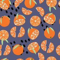 Frucht nahtloses Muster, Orangen mit Blättern vektor
