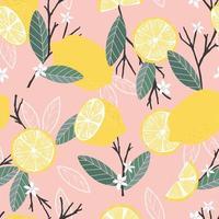 frukt sömlösa mönster, citroner med grenar och blad vektor