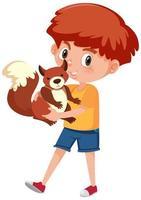 Junge, der niedlichen Tierkarikaturcharakter lokalisiert auf weißem Hintergrund hält vektor