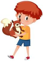 pojke som håller söt djur seriefigur isolerad på vit bakgrund