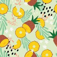 frukt seamless mönster, ananas med tropiska löv vektor
