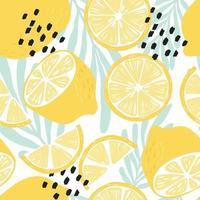 frukt seamless mönster, citroner på vit bakgrund