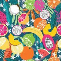 frukt seamless mönster, samling av exotiska tropiska frukter vektor