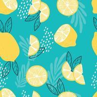 frukt sömlösa mönster, citroner med tropiska blad vektor